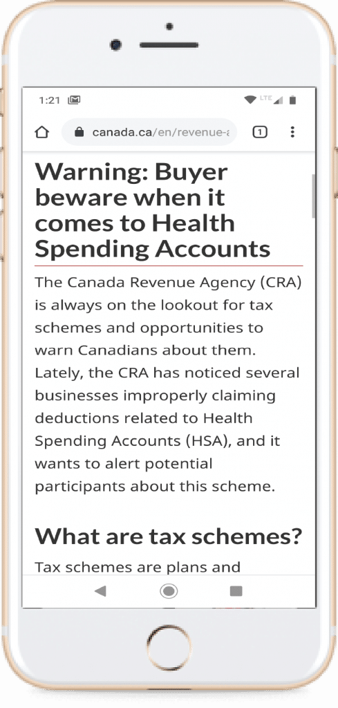 Canada Revenue Agencies Health Spending Account Buyer Beware Warning